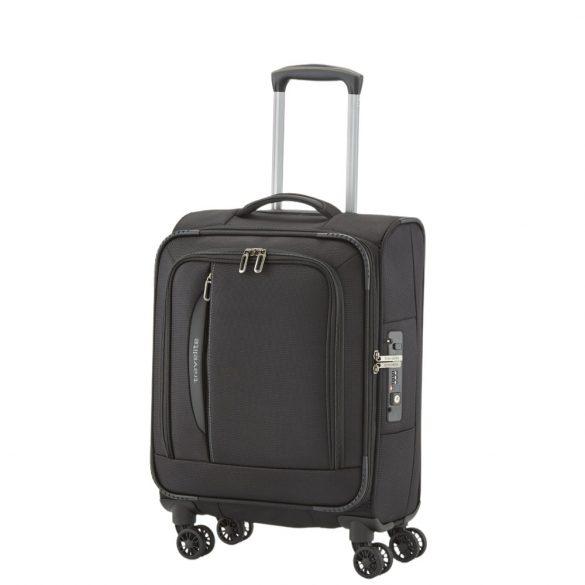 Travelite CROSSLITE S fekete 4 kerekű kis kabin bőrönd