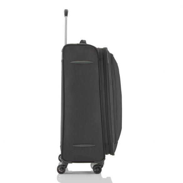 Travelite CROSSLITE L fekete 4 kerekű bővíthető nagy bőrönd