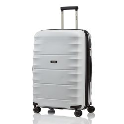Bőrönd TITAN Highlight M világos szürke 4 kerekű bővíthető közepes bőrönd