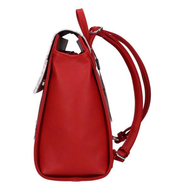 Hátizsák KAREN  9230 Piros virág rostbőr női  A4-es