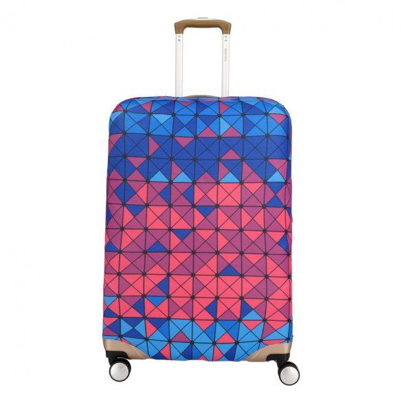 Bőrönd huzat TRAVELITE közepes bőröndre kék-rózsaszín kockás