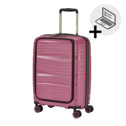 Bőrönd TRAVELITE Motion S rózsaszín 4 kerekű laptoptartós kabin bőrönd