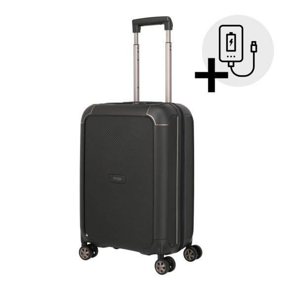 Bőrönd TITAN Compax S fekete 4 kerekű kabin bőrönd USB csatlakozóval