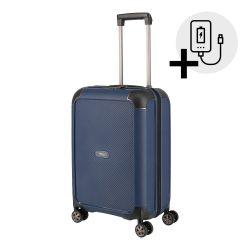 Bőrönd TITAN Compax S kék 4 kerekű kabin bőrönd USB csatlakozóval