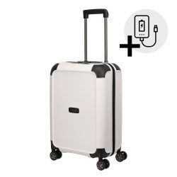 Bőrönd TITAN Compax S fehér 4 kerekű kabin bőrönd USB csatlakozóval