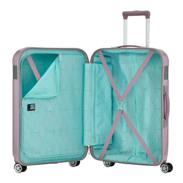 Bőrönd TITAN Spotlight Flash M rózsaszín 4 kerekű közepes bőrönd