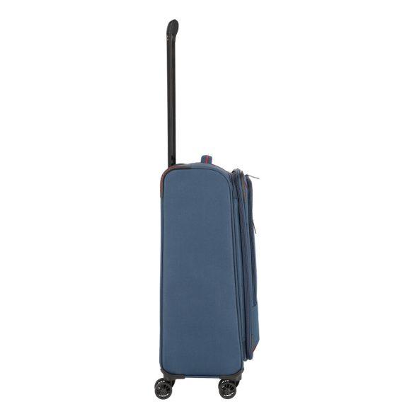Bőrönd TRAVELITE Arona M kék 4 kerekű bővíthető közepes bőrönd