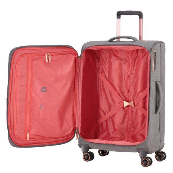 Bőrönd TITAN Barbara M szürke 4 kerekű bővíthető közepes bőrönd