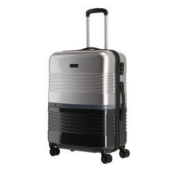 TRAVELITE Frisco M fekete-ezüst 4 kerekű közepes bőrönd