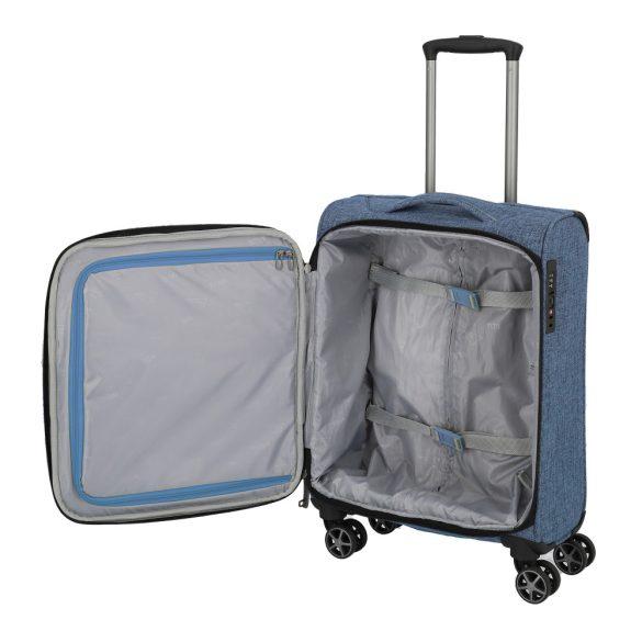 Bőrönd TITAN Novum S kék 4 kerekű kabin bőrönd