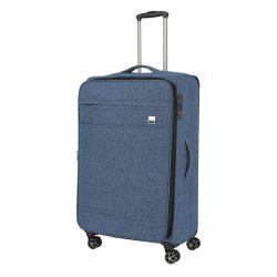 Bőrönd TITAN Novum L kék 4 kerekű bővíthető nagy bőrönd