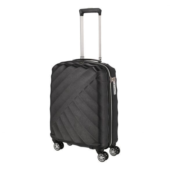 Bőrönd TITAN Shooting Star S fekete 4 kerekű kabin bőrönd