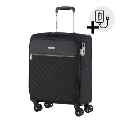 Bőrönd TRAVELITE Jade S fekete 4 kerekű kabin bőrönd USB csatlakozóval