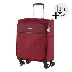 Bőrönd TRAVELITE Jade S bordó 4 kerekű kabin bőrönd USB csatlakozóval
