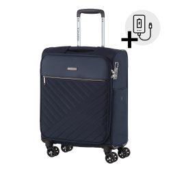 Bőrönd TRAVELITE Jade S kék 4 kerekű kabin bőrönd USB csatlakozóval