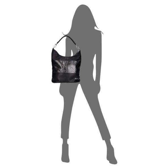KAREN D 207 Fekete rostbőr női táska