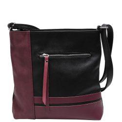 KAREN D 357 Fekete-Bordó rostbőr női táska