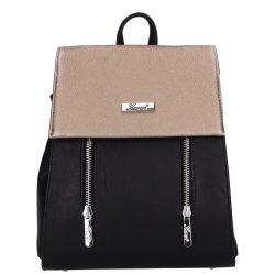 KAREN 9230 Bis Fekete-Ezüst kígyóbőr rostbőr női hátizsák